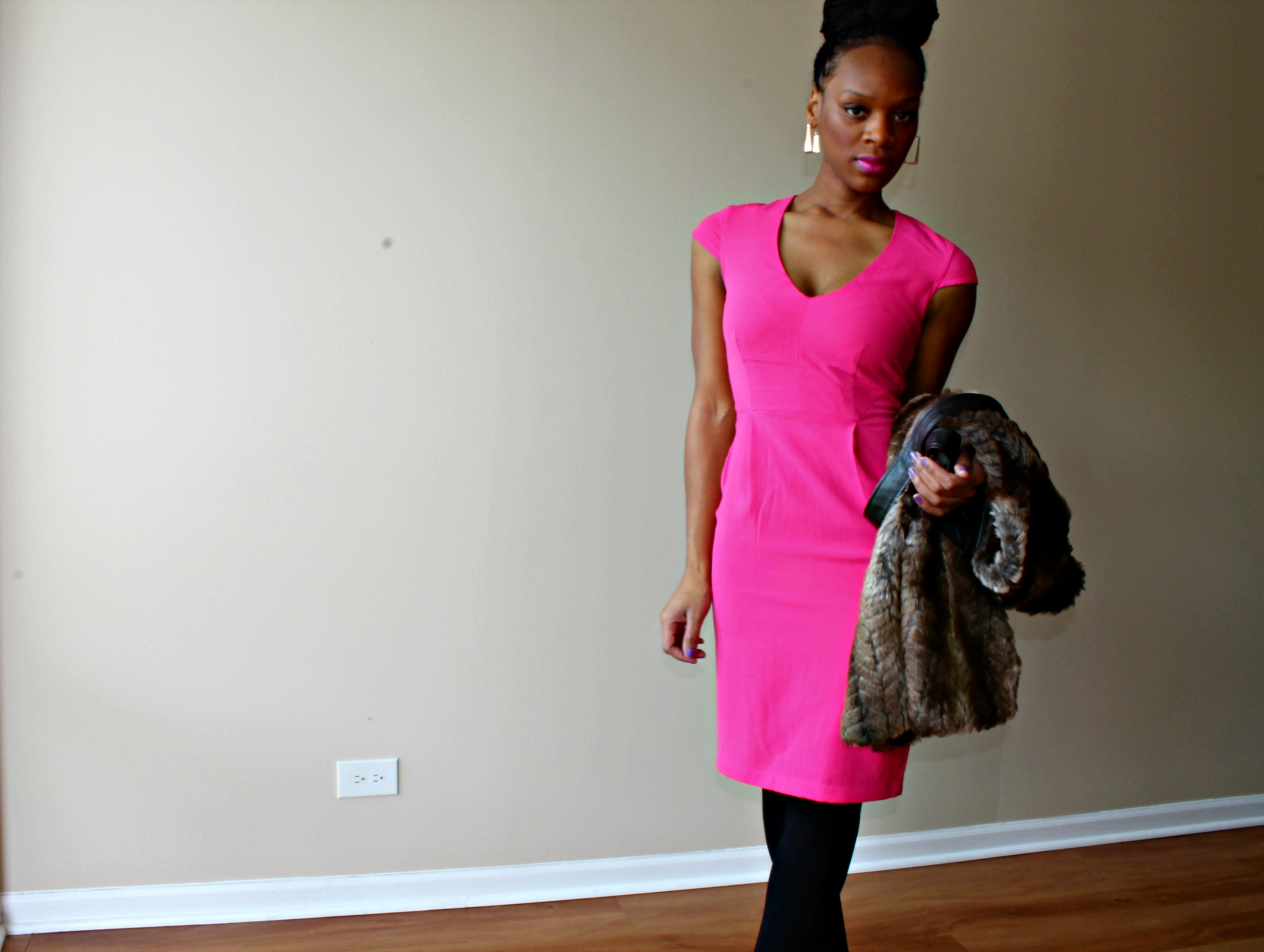 pink-dress-box-braid-high-bun-faux-fur-vest-beauty-and-the-beat-blog