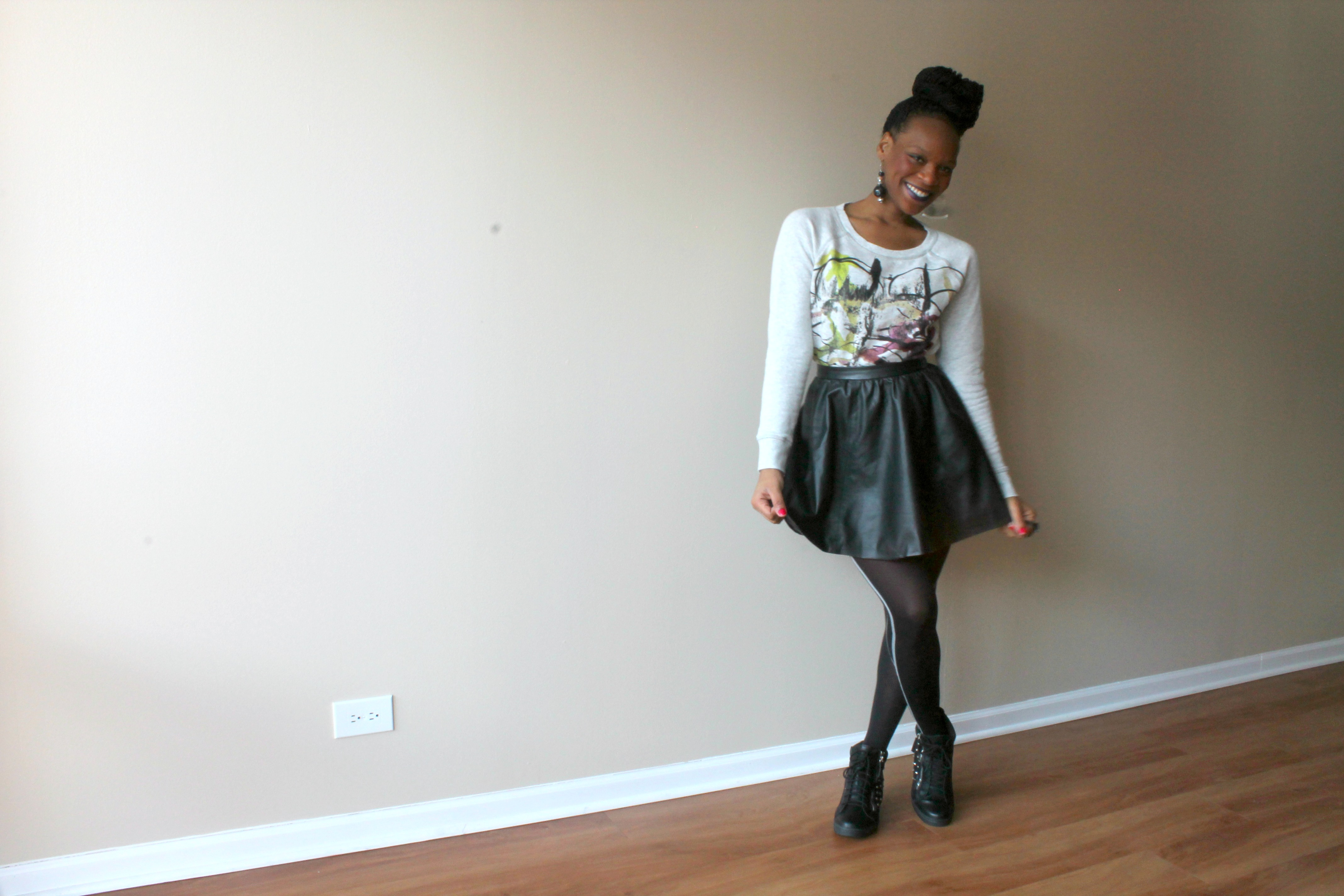 Skirt And Sneakers - Box Braids Black Leather Skirt Nyla Wedge Sneakers Beauty And The Beat Blog