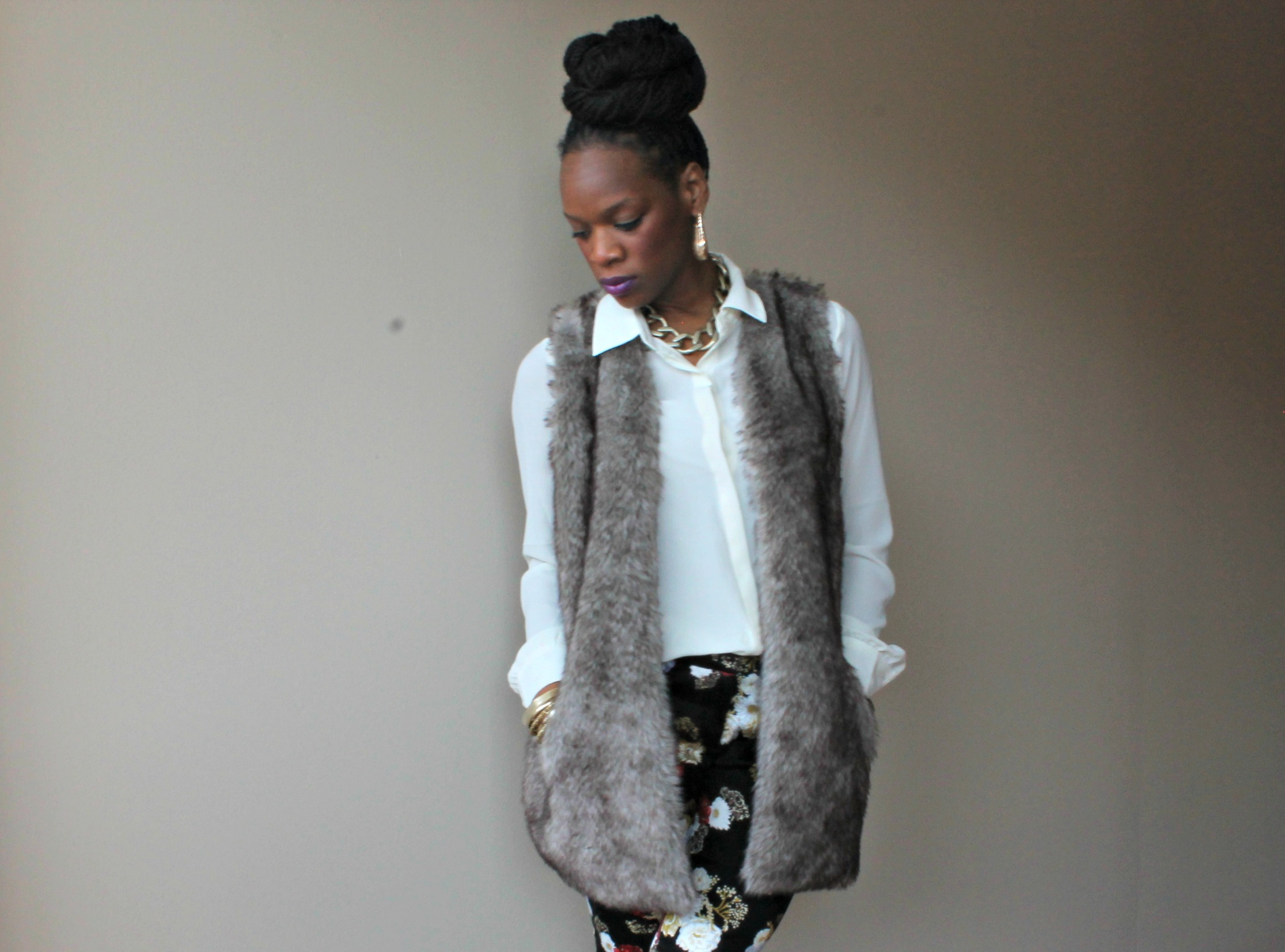 faux-fur-vest-and-floral-pants-outfit-of-the-day-fashion-beauty-and-the-beat-blog