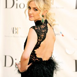 ashlee-simpson-alice + olivia gown feather-black-sequins-beauty-and-the-beat-blog