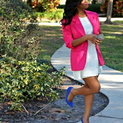 pink-blazer-personal-style-blue-suede-heels-white-dress-fashion-ootd-get-the-look-beauty-and-the-beat-blog