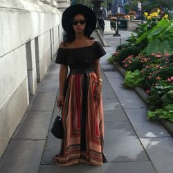 margo-ootd-la-berma-brimmed-hat-color-block-print-maxi-skirt-akira-chicago-fashion-sam-edelman-circus-bucket-bag-off-shoulder-black-bodysuit-beauty-and-the-beat-blog