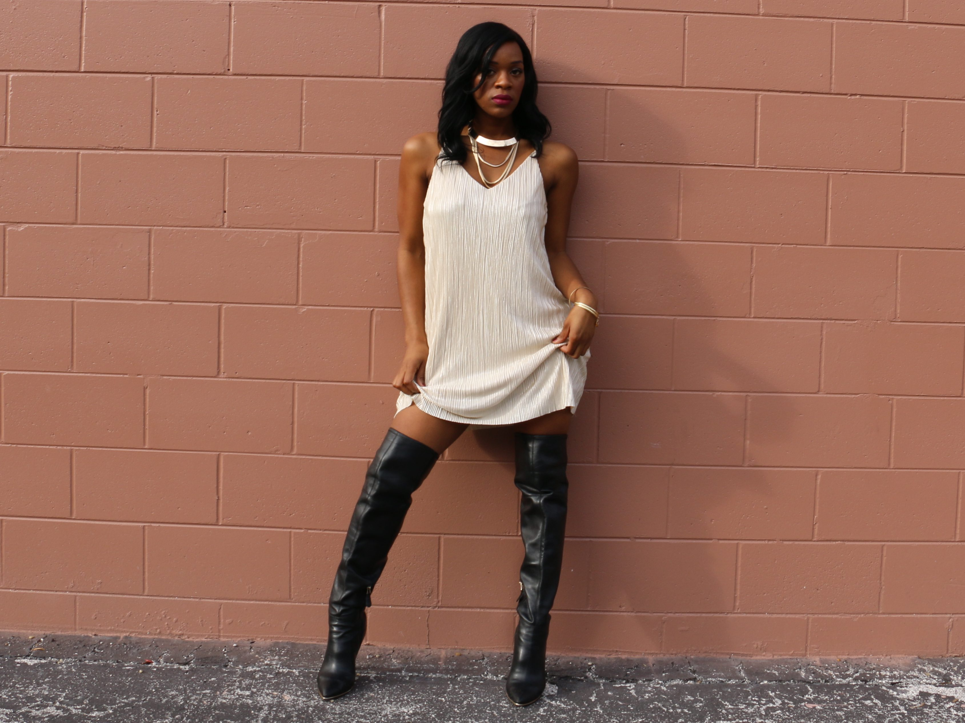 cd55e13ecbae Easy Holiday Outfit Inspiration  Gold Slip Dress   Over-the-Knee Boots