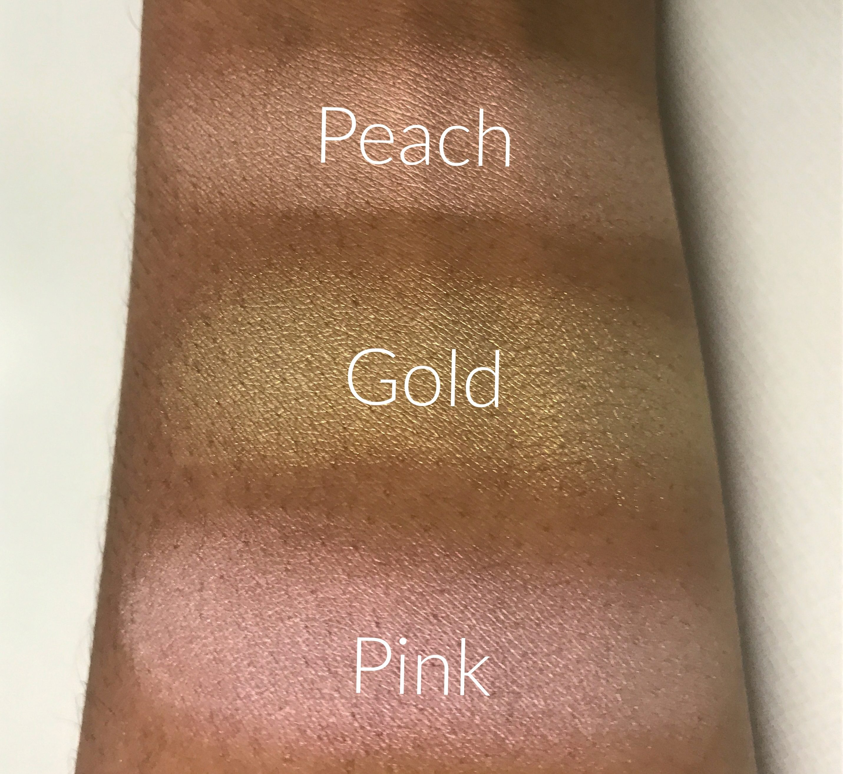 lime-crime-opals-opalescent-highlighter-palette-swatches-on-dark-skin-pink-peach-gold-makeup-vegan-cruelty-free-product-review-beauty-and-the-beat-blog